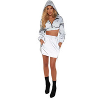 Womens Two Piece Sets Dresses Hooded Jackets Coats Short Tops Mini Dress Outfits Ladies Sexy Windbreaker Casual Tracksuits Dresses