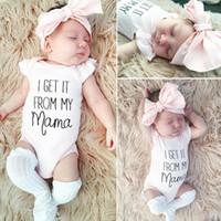 Mädchen-Kleidung-Sommer-neue Baby-Body Jumpsuits Short Sleeve Coveralls-Rosa-Bogen-Stirnband-Zweiteiler Kinder Bodysuit für Kinder E3302