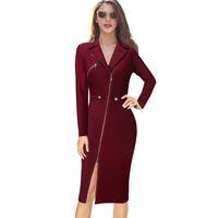 New Arrival. Vfemage Women Sexy Elegant Lapel Asymmetric Zip Moto Button Casual  Work Office Business Party Bodycon Vestido Sheath Dress ... 958ca6d93