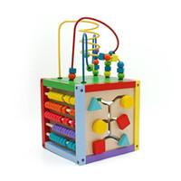 8 x 8 인치 나무 학습 구슬 미로 큐브 5 in 1 활동 센터 교육 장난감 여러 가지 빛깔의 나무 구슬 미로 큐브