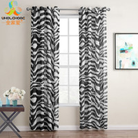 Modern Grommet Curtains Tulle Black Zebra Waves Design Curta...