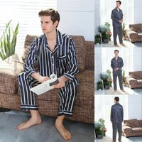 Sleepwear masculino Puimentiua casal pijama conjuntos de seda cetim pijamas listrado casa terno pijama para amante homem mulher amantes 'roupas