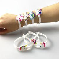 10 pz / lotto unicorno festa per bambini regalo braccialetto di gomma braccialetto decorazioni festa di compleanno per bambini baby souvenir favori di partito forniture