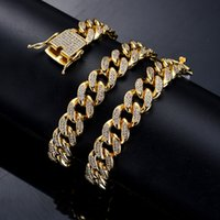 12mm Iced Out Bling Zircon Gold-Finish Miami Cuban Link-Ketten-Halskette der Männer Hip Hop Halskette Schmuck