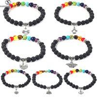 7 Chakra Healing perline perline braccialetto 8MM pietra della lava occhi di tigre Bracciale per le donne degli uomini di modo dei monili di fascino Yoga-Z