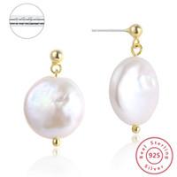 Münze barocke Perlen-Ohrstecker S925 Silber-Ohrringe 100% Perlenohrring für Frauen-Mädchen-Prevent Allergie Ohrring DIY Hochzeitsgeschenk 1pair / lot