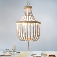 Смаль оригинальная белой деревянных бус люстры пеньковой веревка кухня столовая лампа для детской комнаты детской спальни