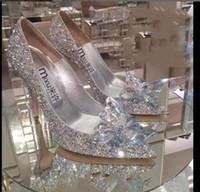 Женщины на высоких каблуках свадьбы Серебро Золушка обувь сексуальная леди хрустальные платформы серебряные блестки алмазов Свадебная обувь пятки партия насос