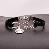 Braccialetti americani infinity softball per donna Uomo Amore baseball fascino velluto String Rope Wrap Bangle Fashion Sports Jewelry Gift