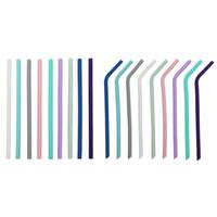 23см Красочные Силиконовые соломы Бент и Straight многоразовый Гибкая Питьевой соломинки Food Grade Fold Wide 8мм Соломка для бара дома трубочки