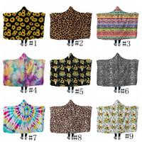 Одеяло с подсолнухами и капюшоном с леопардовым принтом Флисовые одеяла Взрослые Дети Мягкие теплые шерпа накидки для путешествий Пикник Полотенце 13 стилей GGA2586