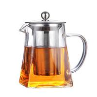 Théière en verre résistant à la chaleur carrée Théière en verre avec le thé infuseur filtre et couvercle Stovetop Loose Leaf thé Oolong Milk Flower Tea Pot