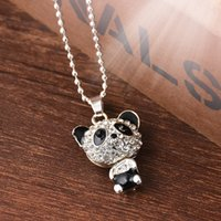 3pcs / lot vende al por mayor joyas de la panda del collar suéter para los hombres de la panda Collares largos pendientes mujeres regalos joyerías 1pz