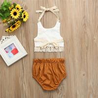 Baby Outfits Kleidung stellt Kinder-Tassel-Neckholder + Shorts 2 Stück Sets Sonnenblume-Spitze Blackless Outfits Kind-Baumwollkleidung A32005