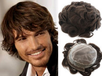 남자를위한 뜨거운 판매 다크 브라운 # 2 색 챙 전체 스위스 레이스 머리 조각 브라질 버진 인간의 머리카락 교체