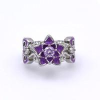 Anello elegante Lotus Flower zircone impegno per le donne Unico viola smalto Wedding Anelli moda marchio di gioielli Regali anillos