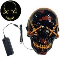 Crânio LED Máscara 10 cores EL luz fria Halloween Horror Natal Luz Up máscaras assustadoras Acessórios de Moda OOA7228-2