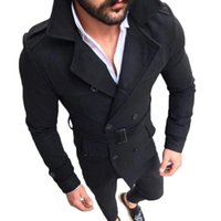 Men Overcoat Suede Lapel Double Breasted Trench Coat Outwear...