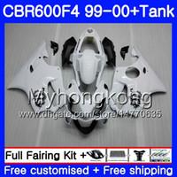 Kropp + Tank för Honda CBR600 F4 CBR 600 F4 FS CBR600 F 4 287HM.8 CBR600F4 99 00 CBR600FS CBR 600F4 1999 2000 Fairings Dragon White Light Kit