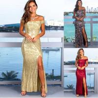 Avrupa ve Amerikan yaz patlama modelleri kadın seksi sapan yeni uzun etek payet akşam dressRunway Elbiseler