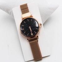 Topquality brand rose gold ladies watch minimalist star magn...