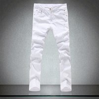 Pantalones vaqueros blancos hermosos apretados de primavera para hombres Pantalones de altura de algodón de alta calidad Hombres de ocio delgado