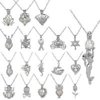 Горячая любовь желание жемчужные клетки медальон ожерелье выдалбливают Oyster Pearl ожерелье пресноводные жемчужные акулы Русалка Морской конек DIY ювелирных изделий