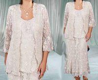 2019 Elegante Knöchellänge Spitze Mutter der Brautkleider Mantel Mutter Formale Kleider plus Größe Mom Bräutigam Kleidanzug Plus Größe