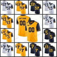 Benutzerdefinierte West Virginia Mountaineers-Trikots 57 Adam Pankey 13 Andrew Buie 5 Chris Chugunov 7 Daryl Worley Stitch College Football NCAA-Trikot