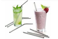 Più dimensioni e curvatura in acciaio inox paglia e spacco in acciaio inox spazzola riutilizzabile bere barra di paglia per utensili da bere