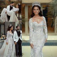 Vintage Mermaid 2020 Wedding Dresses With Detachable Train Long Sleeve Lace Pearls Princess Bridal Gowns Plus Size Dubai Vestidos De Novia