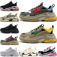 2019 Moda Paris 17FW Triple-S Sneakers Triple S Casual Dad Shoes para mulheres dos homens Bege Preto Ceahp Sports Designer Shoes Sneakers 36-45