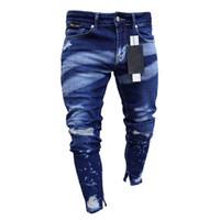 남자 유행 Hight 거리에 의하여 찢기는 청바지 바지 Streetwear 에 의하여 그려지는 고민된 데님 바지 발목 지퍼는 크기 S-XXXL 를 세척했습니다