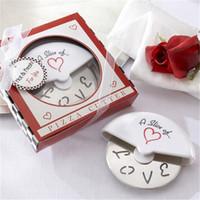"""""""A Slice of Love"""" in acciaio inox taglierina della pizza in miniatura Pizza Box Baby Shower regali di nozze favori di JK2003"""