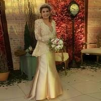 GOLD 2 PIOD MODER AV BRIDE Groom Klänningar med Bolero V Neck Lace Appliques Bröllopsfestklänning Gästkläder Satin Aftonklänning