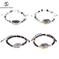 Trendy Unregelmäßige natürliche Achat-Druzy Charm Armband Art und Weise Schwarz-weiße Perlen durch Hand Braide Länge Schmuck Adjust für Frauen-Mann-Y