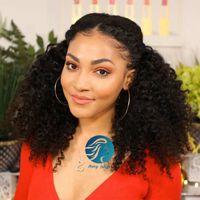Perruque frontale de dentelle noire brésilienne pré-cueillée nœuds blanchie nœuds 360 dentelle perruques frontales cheveux vierges perruques de cheveux humains bouclés