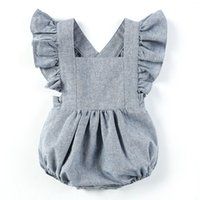 Triangle Cute Baby Girl Rompers Lotus Sleeve Breathable Line...