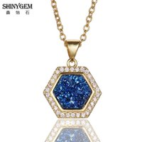 ShinyGem New Arrival Hexagon Pendant Neckalce 3 Color Natural Crystal Druzy Necklace Pave Zircon Link Chain Women Gold Necklaces