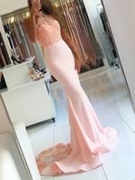 Halter de encaje con cuentas 2019 vestidos de noche rosados sirena sexy vestidos de fiesta vintage barato formal fiesta de honor gowns zj96