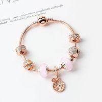 Bracciale per perline magiche rosa 925 argento Pandora Braccialetto Bracciale Pendente Pendente Braccialetto Magic Beads Pandora Gold Beads come regali di gioielli fai da te