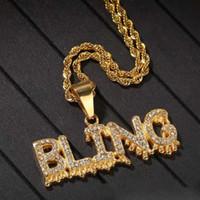 ghiacciato lettera Bling fuori pendente uomini hip hop ciondoli mens design di lusso lettere diamante in acciaio inox regalo gioielli strass