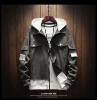 2018 Nova Moda Denim Jacket Patch Designs Patchwork Com Capuz Homens Denim Jacket Multi-Bolso Hip Hop Buraco Roupas Masculinas