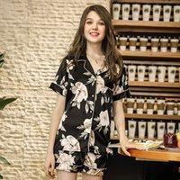Kadınlar Seksi Kısa Yaz pijama için SSH0206 Yeni Pijama Bayanlar Çiçek Baskı Gecelik Seksi Yumuşak Saten ipek pijama ayarlar