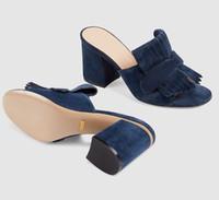 Mulheres Camurça Mid-calcanhar Bomba Sandália Plataforma Sandálias Sapatos de grife Marmont Sandálias com dobra sobre franja Couro real Salto alto com caixa US11