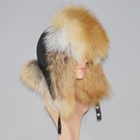 Unisex 100% Natural Fox Fur Hat Russia Warm Fluffy Real Fox ...
