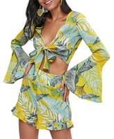 Frauen Zwei Stück Hosen Hamaliel Sexy V-ausschnitt Böhmischen 2 kurze Anzüge 2021 Sommer Frauen Chiffon Gedruckt Flaume Bowknot Tops + Strand