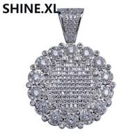 Хип-хоп Круглый Кластер Медальон ожерелье золота цепи шарма цвета серебра Bling Кубический циркон Мужчины Женщины для подарка