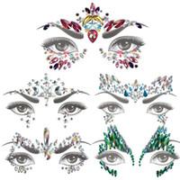 Glitter Face Jewels Temporary Tattoo Sticker Body Gemme Gypsy Festival Ornamento Decorazione faccia del viso Strumenti di trucco di bellezza del tatuaggio