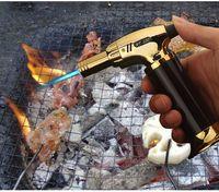 Yeni Varış Torch Turbo Çakmak Yeni Püskürtme Tabancası Jet Bütan Puro Çakmak Gaz Sigara 1300 C Rüzgar Geçirmez Çakmak Yok Gaz